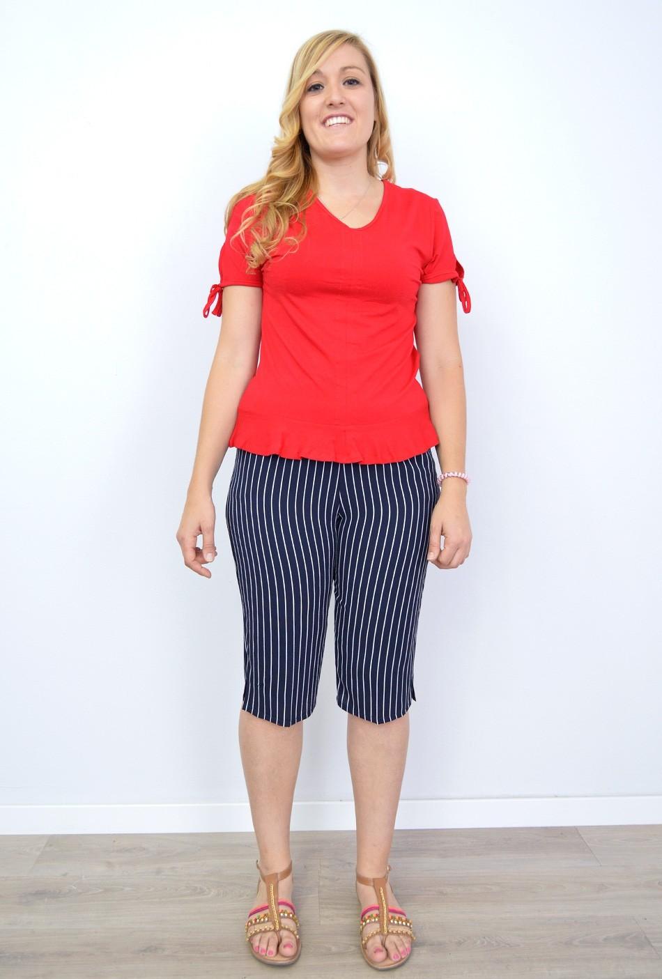 259401cb Pantalones Tallas Grandes Mujer al por Mayor Tupantalón   Pirata Rayas